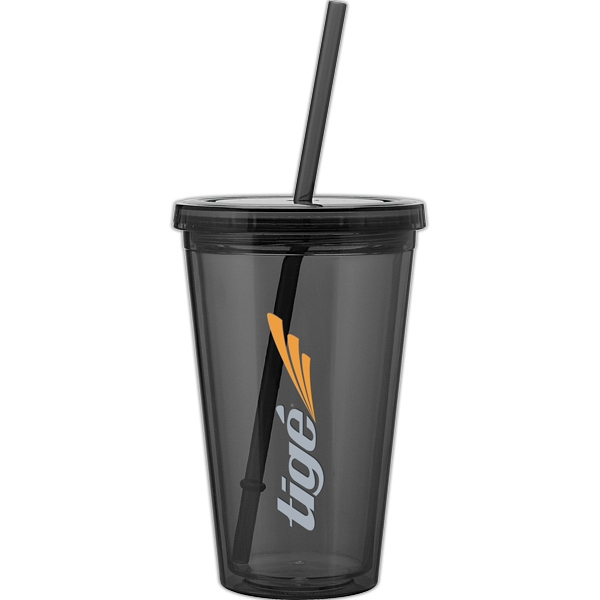 Spirit - Graphite - 16 Oz Acrylic Double Wall Tumbler With Threaded Lid And Matching Straw Photo