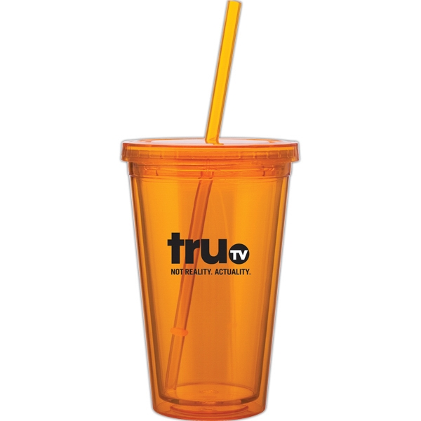 Spirit - Tangerine - 16 Oz Acrylic Double Wall Tumbler With Threaded Lid And Matching Straw Photo