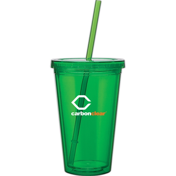 Spirit - Apple - 16 Oz Acrylic Double Wall Tumbler With Threaded Lid And Matching Straw Photo