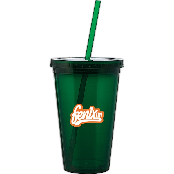 Spirit - Green - 16 Oz Acrylic Double Wall Tumbler With Threaded Lid And Matching Straw Photo