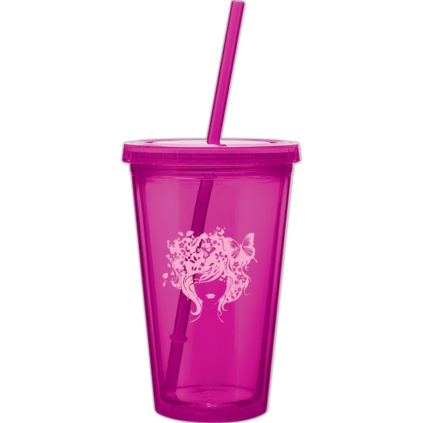 Spirit - Fuchsia - 16 Oz Acrylic Double Wall Tumbler With Threaded Lid And Matching Straw Photo