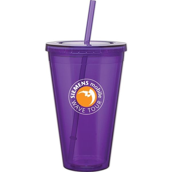 Spirit - Purple - 24 Oz Acrylic Double Wall Tumbler With Threaded Lid And Matching Straw Photo