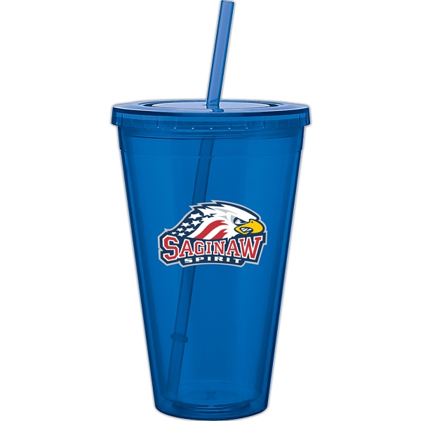 Spirit - Blue - 24 Oz Acrylic Double Wall Tumbler With Threaded Lid And Matching Straw Photo