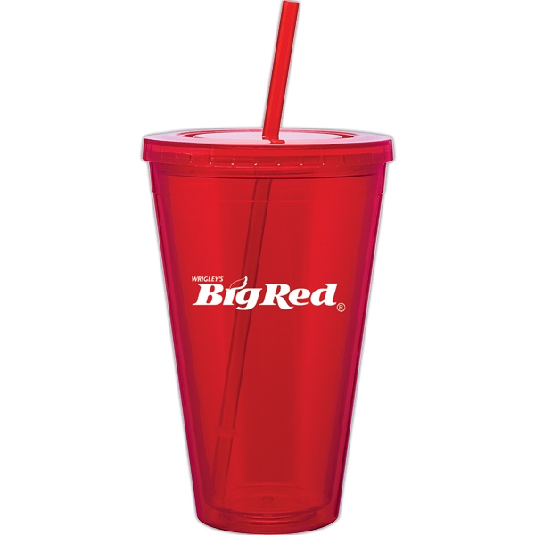Spirit - Red - 24 Oz Acrylic Double Wall Tumbler With Threaded Lid And Matching Straw Photo