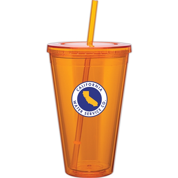 Spirit - Tangerine - 24 Oz Acrylic Double Wall Tumbler With Threaded Lid And Matching Straw Photo