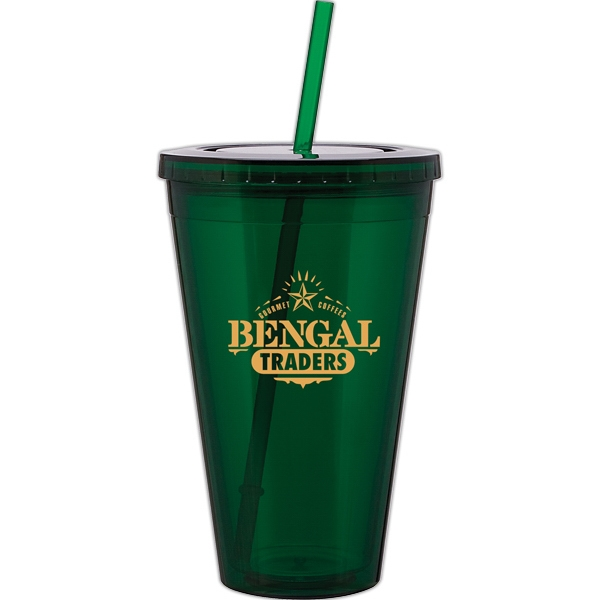 Spirit - Green - 24 Oz Acrylic Double Wall Tumbler With Threaded Lid And Matching Straw Photo