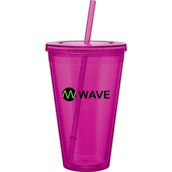 Spirit - Fuchsia - 24 Oz Acrylic Double Wall Tumbler With Threaded Lid And Matching Straw Photo