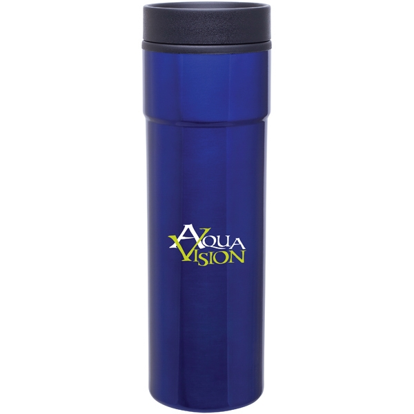 Como - Blue - 16 Oz Stainless Steel Tumbler With Plastic Liner, Foam Insulated, Push-on Lid Photo