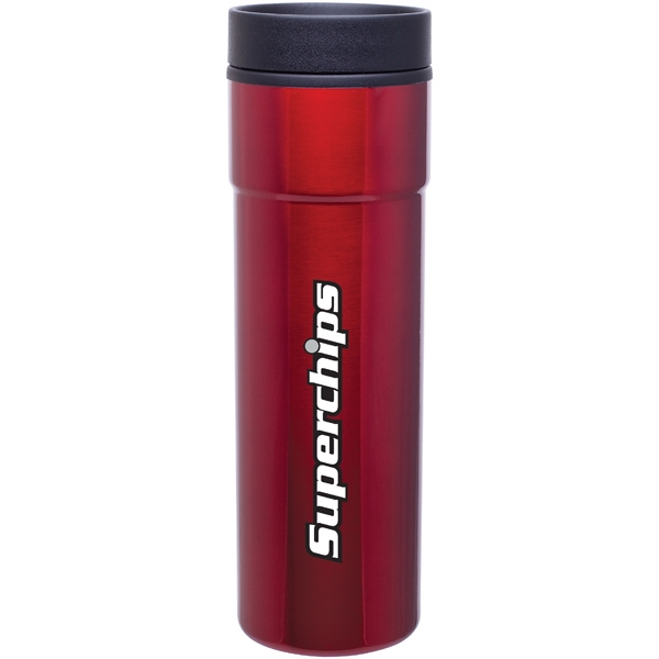 Como - Red - 16 Oz Stainless Steel Tumbler With Plastic Liner, Foam Insulated, Push-on Lid Photo