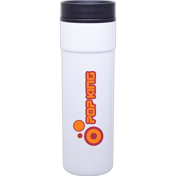 Como - White - 16 Oz Stainless Steel Tumbler With Plastic Liner, Foam Insulated, Push-on Lid Photo