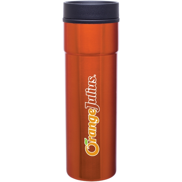 Como - Orange - 16 Oz Stainless Steel Tumbler With Plastic Liner, Foam Insulated, Push-on Lid Photo