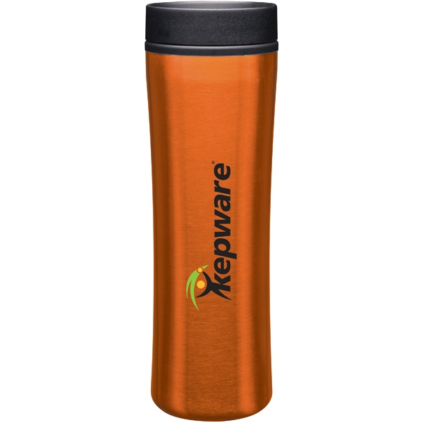 Cyrus - Orange - 16 Oz Stainless Steel Foam Insulated Tumbler With Plastic Liner, Push-on Swivel Lid Photo
