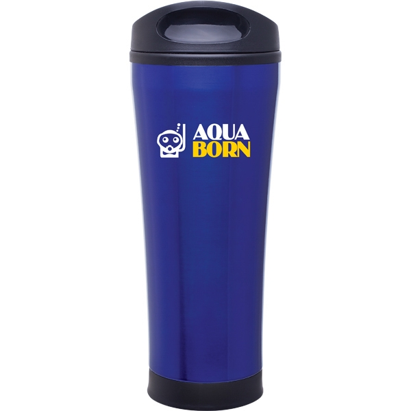 Cara - Blue - 18 Oz Stainless Steel Foam Insulated Tumbler With Plastic Liner, Push-on Swivel Lid Photo