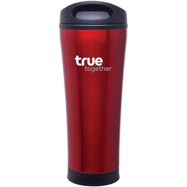 Cara - Red - 18 Oz Stainless Steel Foam Insulated Tumbler With Plastic Liner, Push-on Swivel Lid Photo