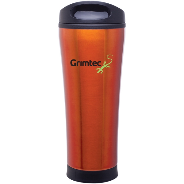 Cara - Orange - 18 Oz Stainless Steel Foam Insulated Tumbler With Plastic Liner, Push-on Swivel Lid Photo