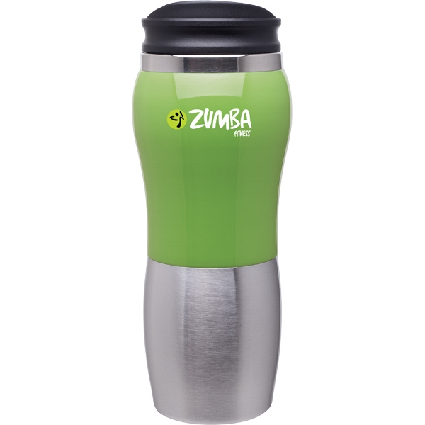 Maui Fusion - Green - 14 Oz 2-tone Acrylic And 18/8 Stainless Steel Tumbler, Foam Insulated, Push On Lid Photo