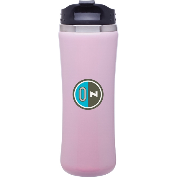 Laguna - Pink Pearl - 14 Oz Double Wall 18/8 Stainless Steel Tumbler, Foam Insulated With Threaded Lid Photo