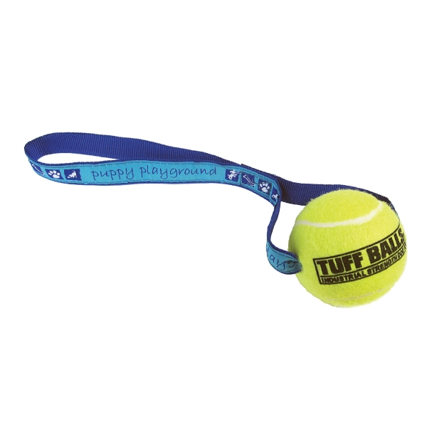 Tuff Ball (tm) Elite+plus - Pet Ball Toss Toy With Woven Strap--non Abrasive Polyester Photo