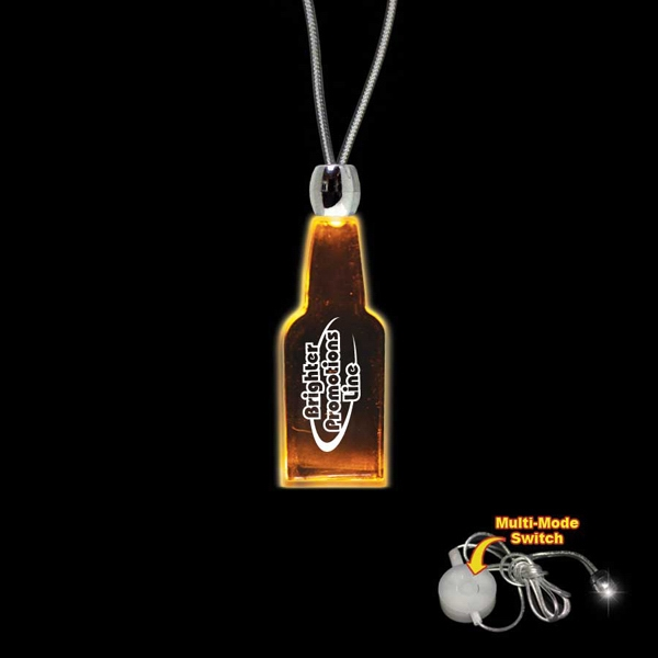 "High Quality, Bottle Shape Amber Light-up Acrylic Pendant On A 24"" Necklace Photo"