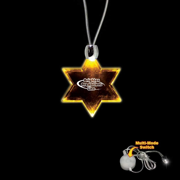 "High Quality, Star Of David Amber Light-up Acrylic Pendant On A 24"" Necklace Photo"