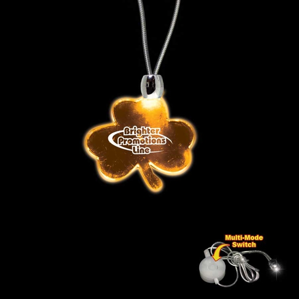 "High Quality, Shamrock Shape Amber Light-up Led Acrylic Pendant On A 24"" Necklace Photo"