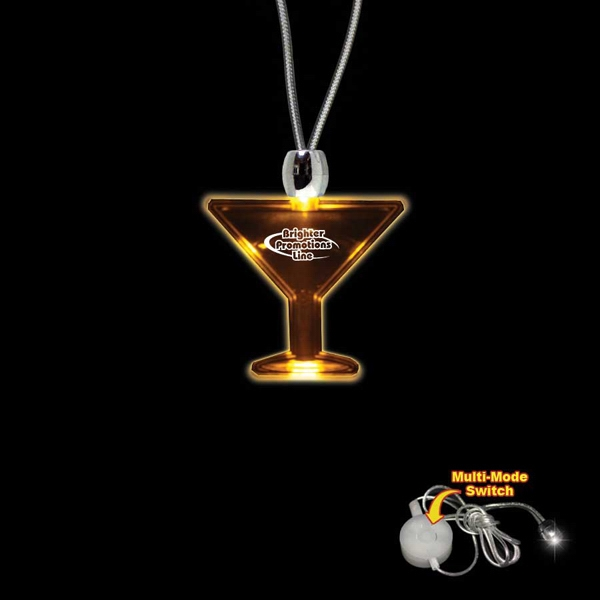 "High Quality, Martini Glass Shape Amber Light-up Led Acrylic Pendant On 24"" Necklace Photo"