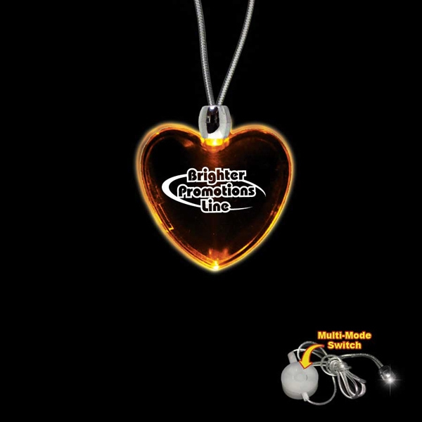 "High Quality, Heart Shape Amber Light-up Led Acrylic Pendant On A 24"" Necklace Photo"