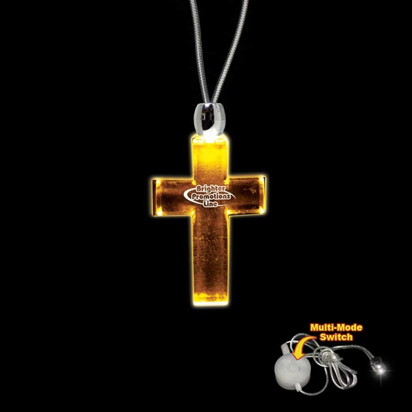 "High Quality, Cross Shape Amber Light-up Acrylic Pendant On A 24"" Necklace Photo"