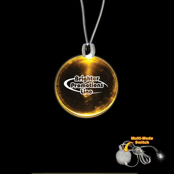 "High Quality, Round Amber Light-up Acrylic Pendant On A 24"" Necklace Photo"