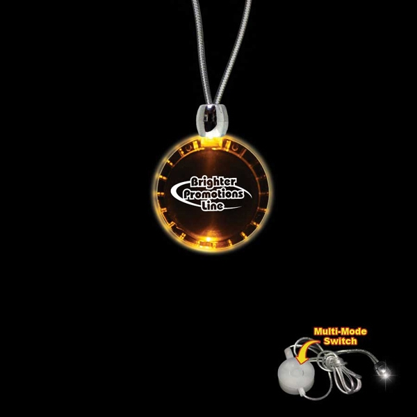 "High Quality, Bottle Cap Shape Amber Light-up Acrylic Pendant On A 24"" Necklace Photo"