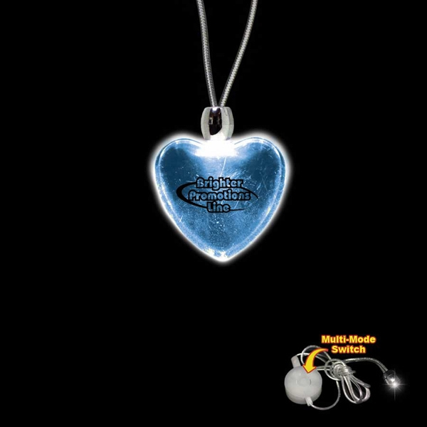 "High Quality, Heart Shape Blue Light-up Acrylic Pendant On A 24"" Necklace Photo"