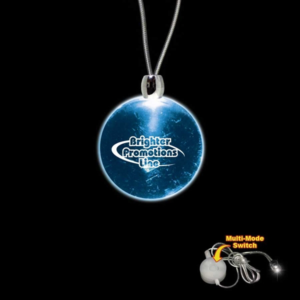"High Quality, Round Blue Light-up Acrylic Pendant On A 24"" Necklace Photo"