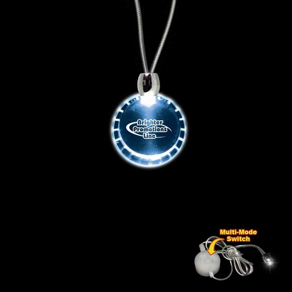 "High Quality, Bottle Cap Shape Blue Light-up Acrylic Pendant On A 24"" Necklace Photo"