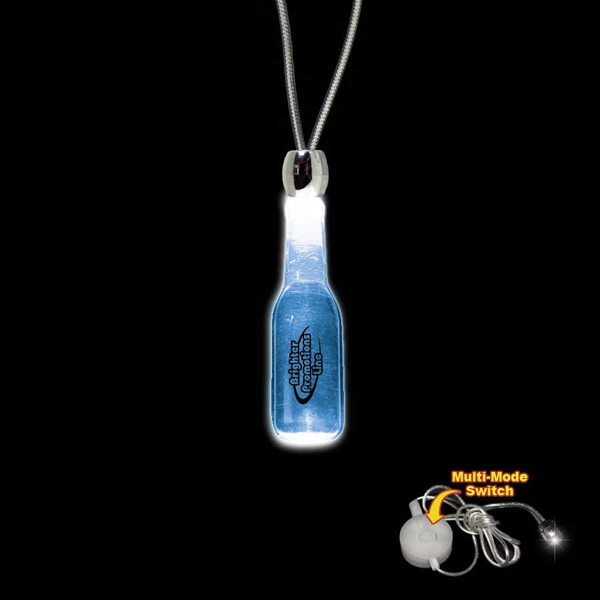 "High Quality, Round Bottle Shape Blue Light-up Acrylic Pendant On A 24"" Necklace Photo"