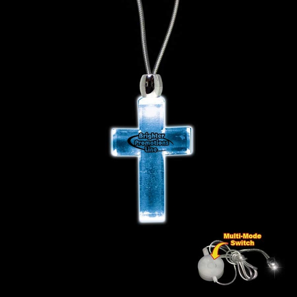 "High Quality, Cross Shape Blue Light-up Acrylic Pendant On A 24"" Necklace Photo"