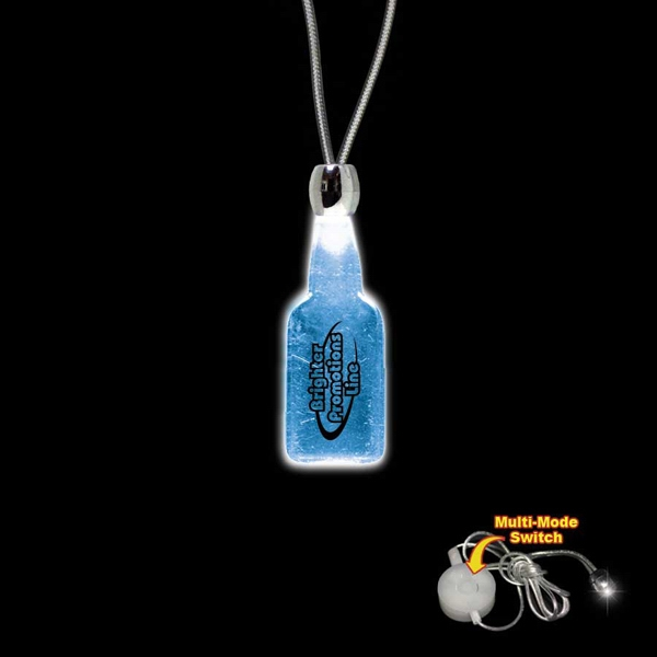 "High Quality, Bottle Shape Blue Light-up Acrylic Pendant On A 24"" Necklace Photo"