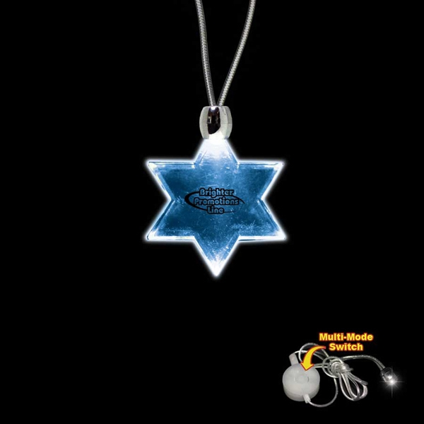 "High Quality, Star Of David Blue Light-up Acrylic Pendant On A 24"" Necklace Photo"
