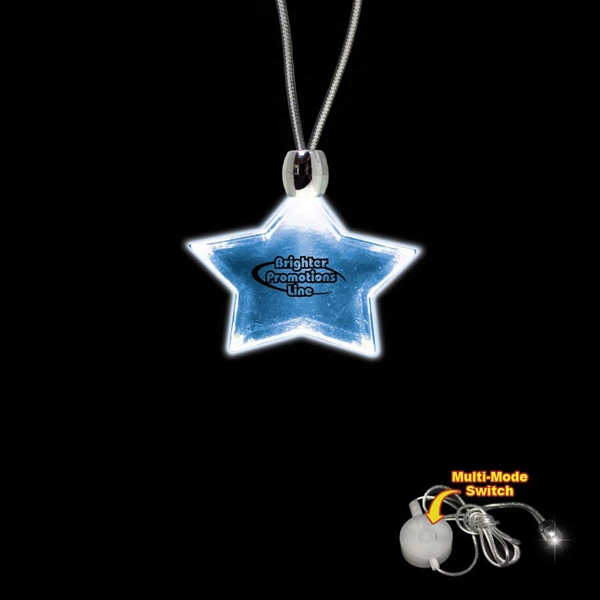 "High Quality, Star Shape Blue Light-up Acrylic Pendant On A 24"" Necklace Photo"