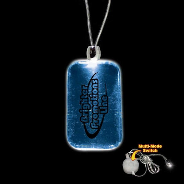 "High Quality, Dog Tag Shape Blue Light-up Acrylic Pendant On A 24"" Necklace Photo"