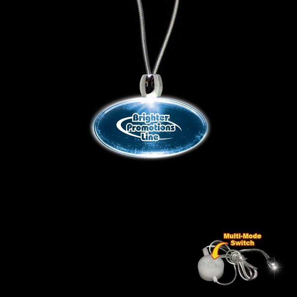 "High Quality, Oval Blue Light-up Acrylic Pendant On A 24"" Necklace Photo"