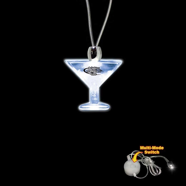 "High Quality, Martini Glass Shape Blue Light-up Acrylic Pendant On A 24"" Necklace Photo"