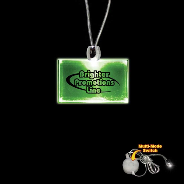 "High Quality, Rectangle Green Light-up Acrylic Pendant On A 24"" Necklace Photo"