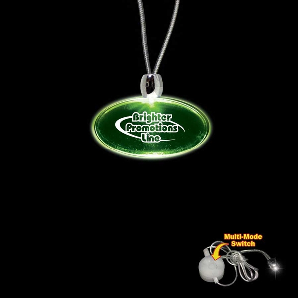 "High Quality, Oval Green Light-up Acrylic Pendant On A 24"" Necklace Photo"