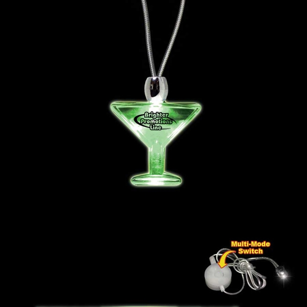 "High Quality, Martini Glass Shape Green Light-up Acrylic Pendant On A 24"" Necklace Photo"