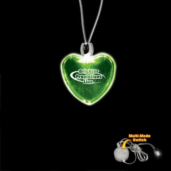 "High Quality, Heart Shape Green Light-up Acrylic Pendant On A 24"" Necklace Photo"