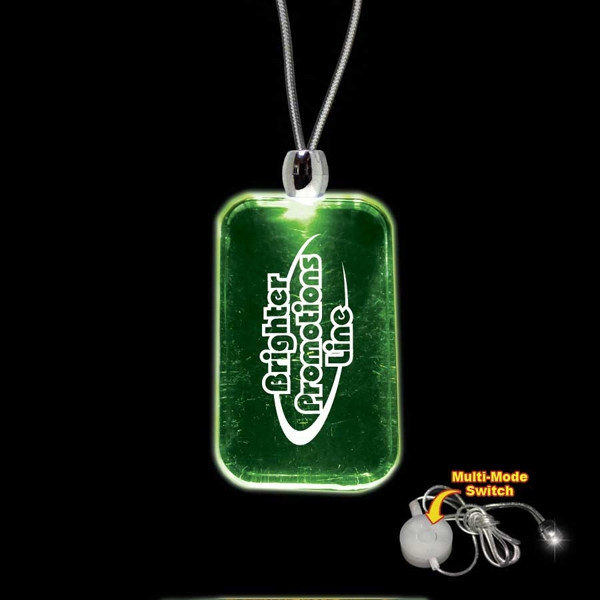 "High Quality, Dog Tag Shape Green Light-up Acrylic Pendant On A 24"" Necklace Photo"