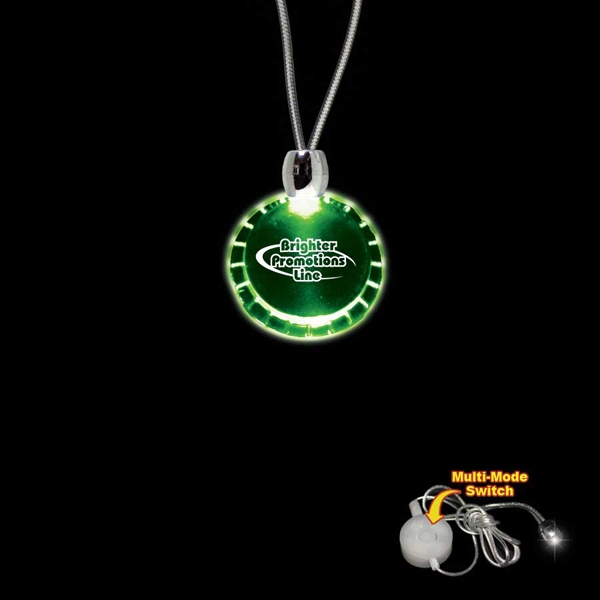 "High Quality, Bottle Cap Shape Green Light-up Acrylic Pendant On A 24"" Necklace Photo"