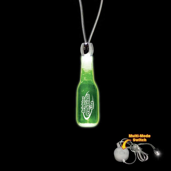 "High Quality, Round Bottle Shape Green Light-up Acrylic Pendant On A 24"" Necklace Photo"