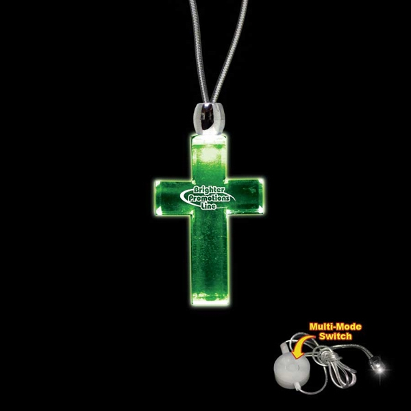 "High Quality, Cross Green Light-up Acrylic Pendant On A 24"" Necklace Photo"