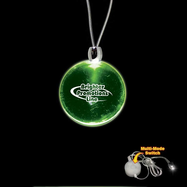 "High Quality, Round Green Light-up Acrylic Pendant On A 24"" Necklace Photo"